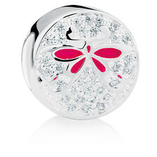 Butterfly Charm with Cubic Zirconia in Sterling Silver