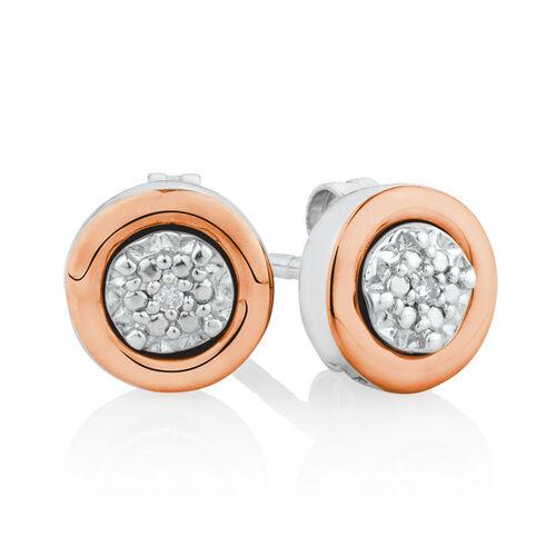 Diamond Set Stud Earrings Set in 10ct Rose Gold & Sterling Silver