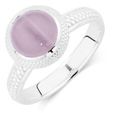 Pink Cats Eye Stack Ring