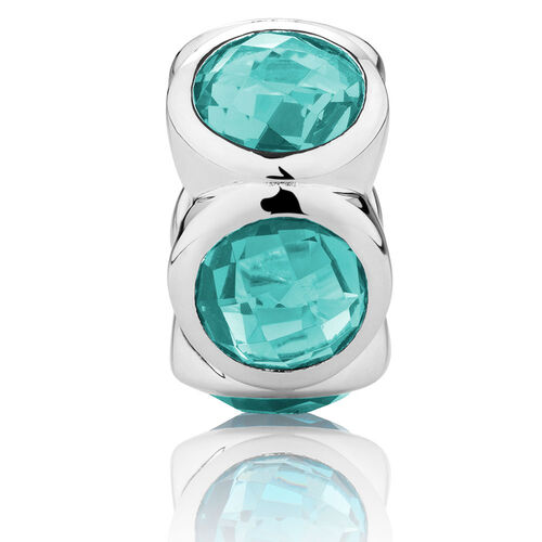 Charm with Teal Crystal in Sterling Silver