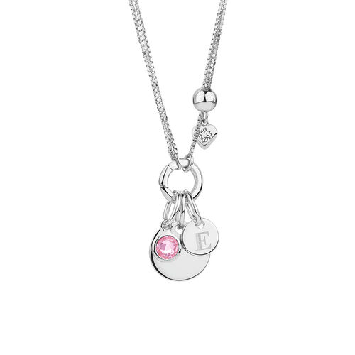 October Mini Pendant with Pink Cubic Zirconia in Sterling Silver