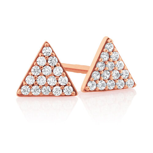 Triangle Stud Earrings with Cubic Zirconia in 10ct Rose Gold