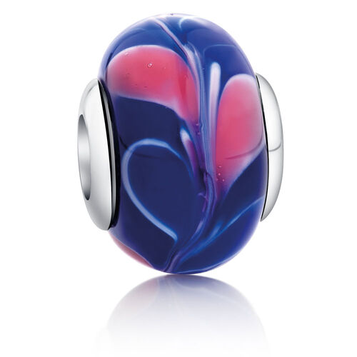 Patterned Charm with Blue & Pink Glass in Sterling Silver