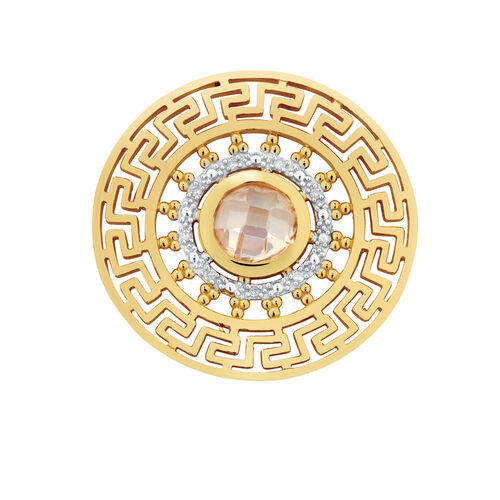 Diamond Set Aztec Coin Insert in 10ct Yellow Gold