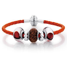 "Orange Leather, Glass & Sterling Silver 19cm (7.5"") Charm Bracelet"