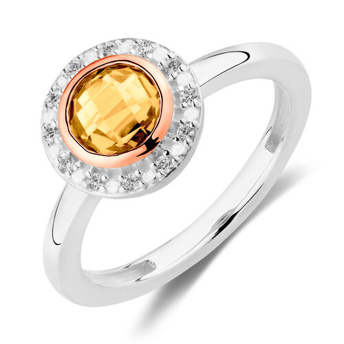 Stacker Ring with Apricot Crystal & Cubic Zirconia in 10ct Rose Gold & Sterling Silver