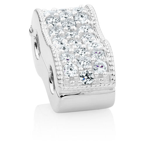 White Cubic Zirconia & Sterling Silver Double Stopper