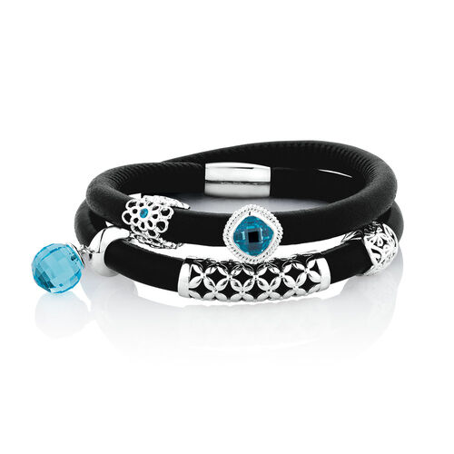 Wild Hearts Full Look Charm Bracelet with Blue Cubic Zirconia in Sterling Silver, Black Leather & Stainless Steel