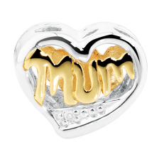 Online Exclusive - Diamond Set, 10kt Yellow Gold & Sterling Silver Mum Charm