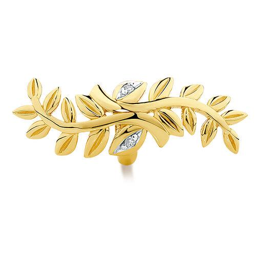 Diamond Set Wild Hearts Leaf Charm in 10ct Yellow Gold