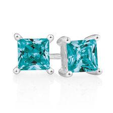Stud Earrings with Teal Crystal in Sterling Silver