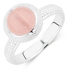 Online Exclusive - Pale Pink Cats Eye Stack Ring