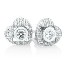 Stud Earrings & Heart Earring Enhancers Set with Cubic Zirconia in Sterling Silver