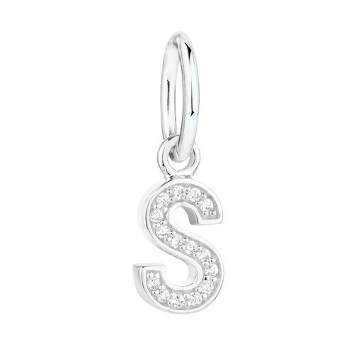 """""""S"""" Mini Pendant with Cubic Zirconia in Sterling Silver"""