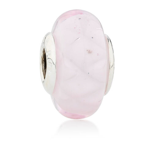 Online Exclusive - Light Pink Glass Charm in Sterling Silver