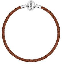 "Brown Leather Double Length 38cm (15"") Charm Bracelet"