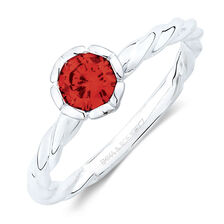 January Stacker Ring with Red Cubic Zirconia in Sterling Silver