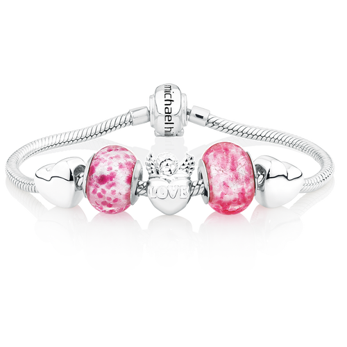 Pink Glass & Sterling Silver Hearts Charm Bracelet