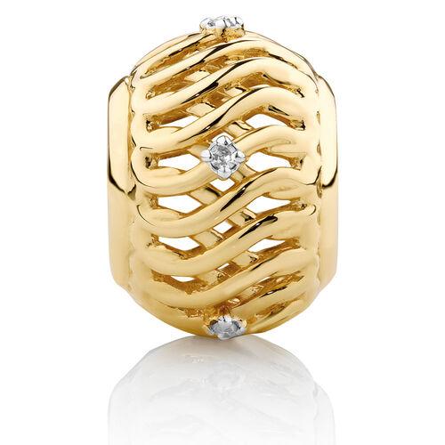 Diamond Set Infinity Pattern Charm in 10ct Yellow Gold