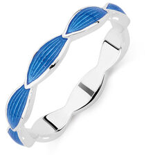 Sterling Silver & Blue Enamel Stack Ring