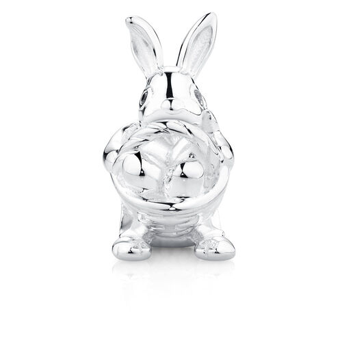 Easter Bunny Charm with Cubic Zirconia in Sterling Silver
