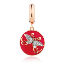 Diamond Set Butterfly Dangle Charm in 10ct Yellow Gold