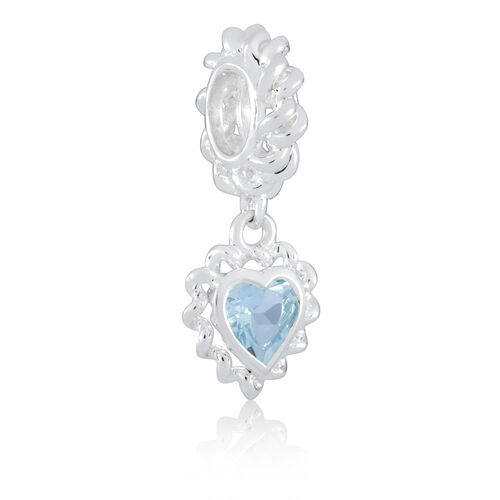 Heart Charm with an Aqua Cubic Zirconia in Sterling Silver