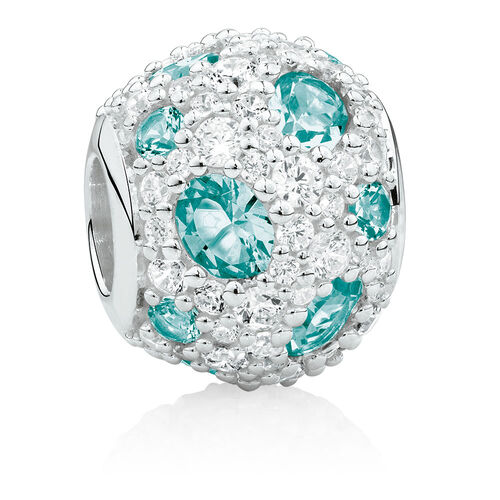 Charm with Teal Crystal & Cubic Zirconia in Sterling Silver
