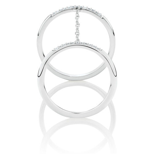 Double Chain Ring with Cubic Zirconia in Sterling Silver