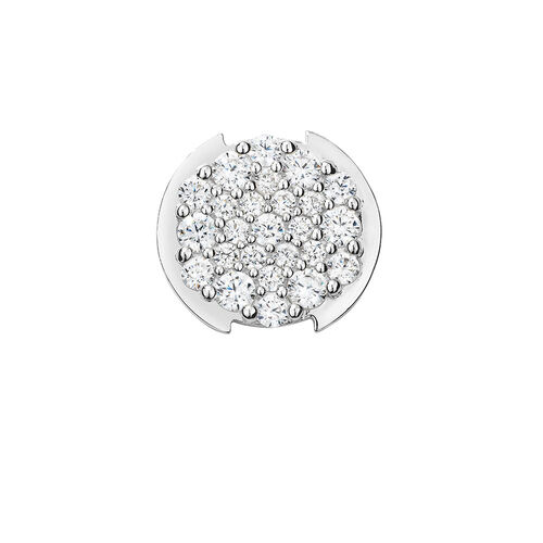 Mini Coin Locket Insert with Pave Set White Cubic Zirconia in Sterling Silver