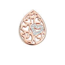 Diamond Set Heart Pattern Mini Coin Locket Insert in 10ct Rose Gold