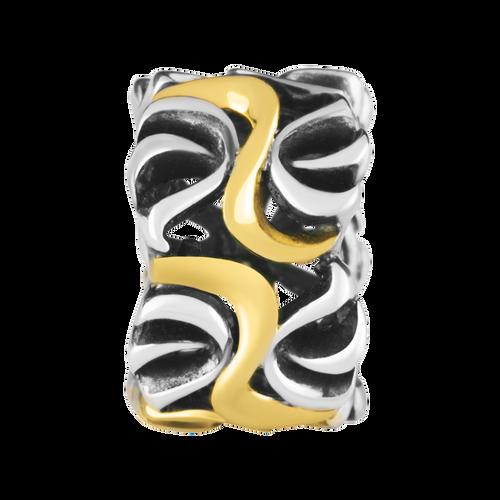 10ct Yellow Gold & Sterling Silver Swirl Pattern Charm