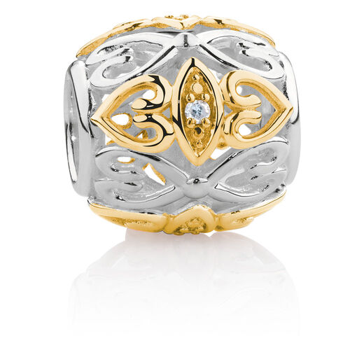 Diamond Set Marquise Charm in 10ct Yellow Gold & Sterling Silver