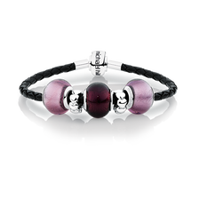 Purple Glass & Black Leather Charm Bracelet