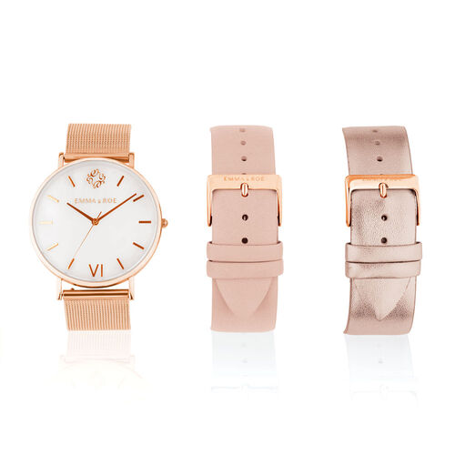 Watch Box Set in Rose Tone Stainless Steel & Leather