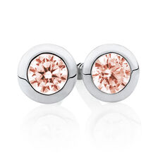 Stud Earrings with Blush Crystal in Sterling Silver
