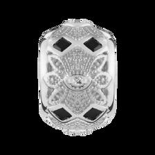 Diamond Set & Black Cubic Zirconia Art Deco Charm