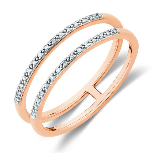Diamond Set Double Row Ring in 10ct Rose Gold