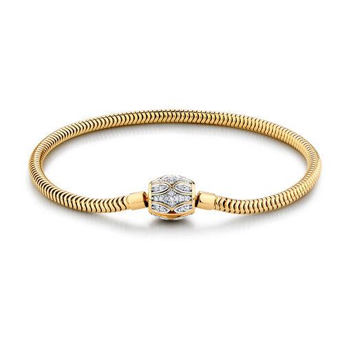 "19cm (7.5"") Charm Bracelet with 1/4 Carat TW of Diamonds in 10ct Yellow Gold"