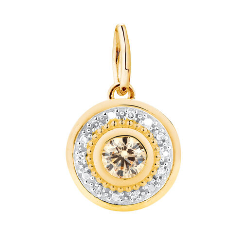 Diamond Set Dangle Charm with Champagne Cubic Zirconia in 10ct Yellow Gold