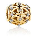 Diamond Set Filigree Charm in 10ct Yellow Gold