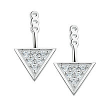Triangle Earring Enhancers with Cubic Zirconia in Sterling Silver
