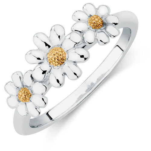 10ct Yellow Gold & Sterling Silver Three Daisy Stack Ring