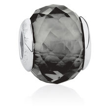 Online Exclusive - Dark Grey Faceted Glass Charm in Sterling Silver