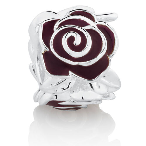 Rose Charm with Maroon Enamel in Sterling Silver