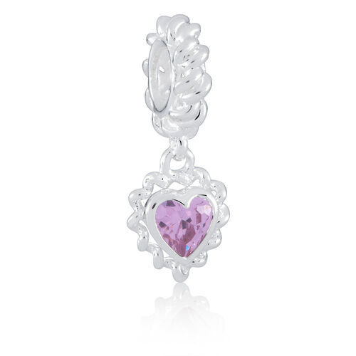 Pink Cubic Zirconia & Sterling Silver Heart Charm