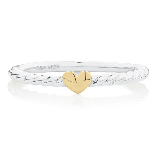 Heart Twist Stacker Ring in Sterling Silver & 10ct Yellow Gold
