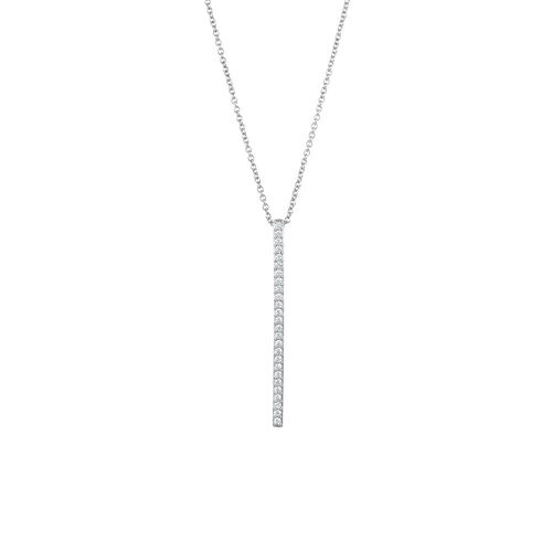Bar Necklace with Cubic Zirconia in Sterling Silver