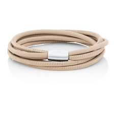 """38cm (15"""") Wild Hearts Double Wrap Multi-Strand Bracelet in Cream Leather & Stainless Steel"""