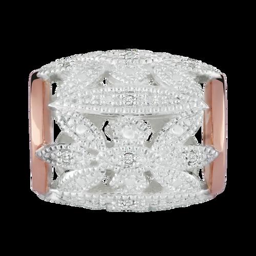 Diamond Set, 10ct Rose Gold & Sterling Silver Art Deco Charm